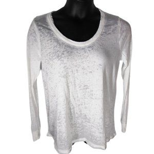 Chaser Long Sleeve Burnout Tee White Distressed